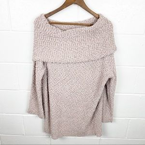 Umgee Over Sized Cowl Neck Off Shoulder Sweater